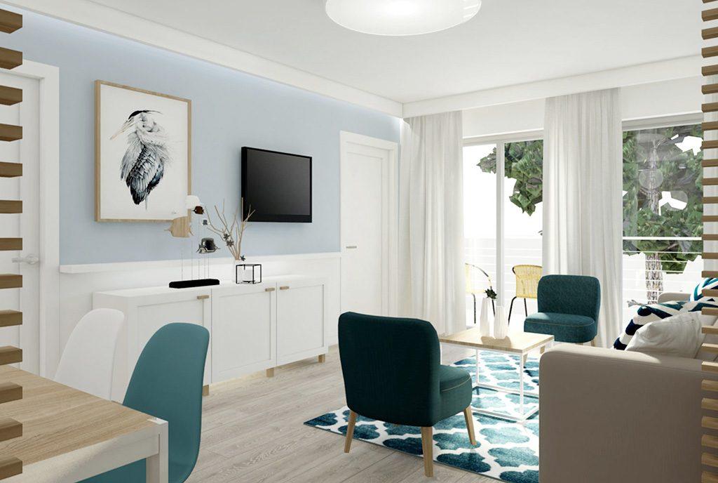 widok na komfortowy salon w luksusowym apartamencie do sprzedaży nad morzem