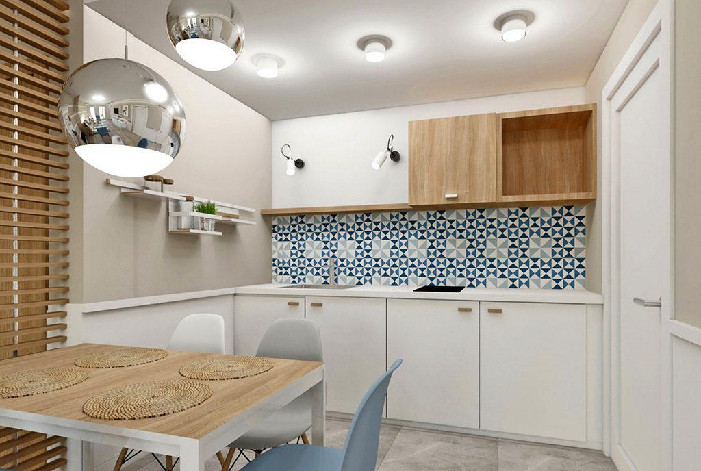 widok na jadalnię i aneks kuchenny w luksusowym apartamencie na sprzedaż nad morzem