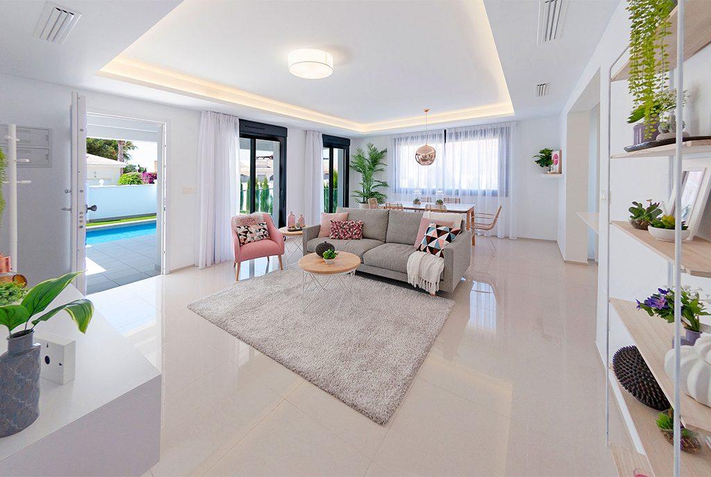 przestronny, słoneczny salon w ekskluzywnej rezydencji do sprzedaży Hiszpania (Ciudad Quesad)