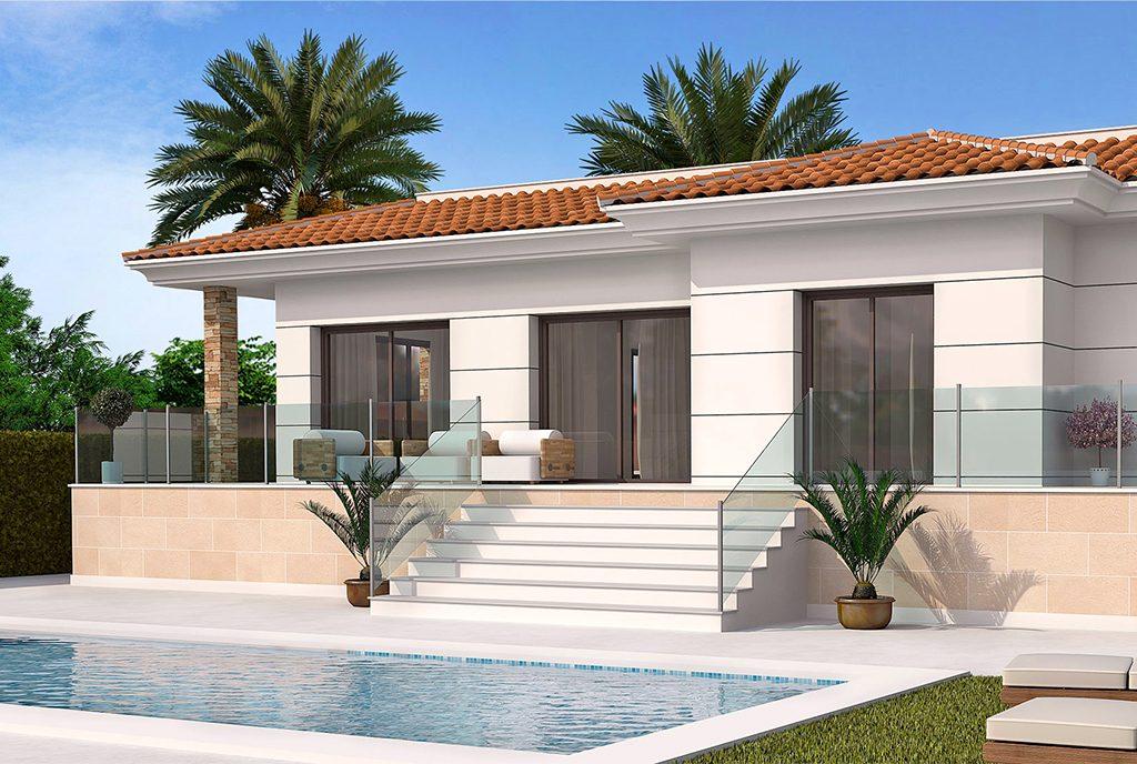 na pierwszym planie basen, w tyle ekskluzywna rezydencja do sprzedaży Hiszpania (Ciudad Quesad)