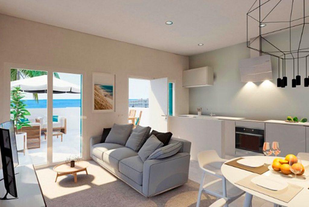 prestiżowy salon w luksusowym apartamencie do sprzedaży Hiszpania (Costa Blanca, Orihuela Costa, Playa Flamenca)