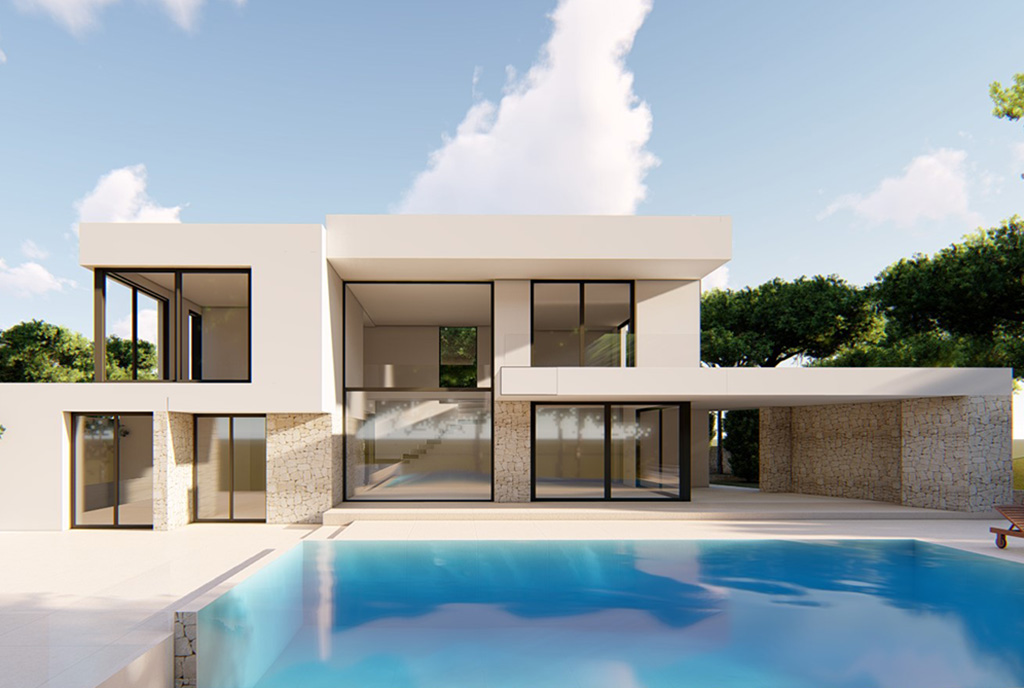 widok od strony basenu na luksusową willę na sprzedaż Hiszpania (Morair)