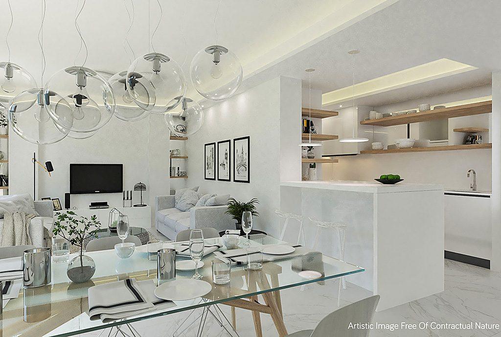 widok z kuchni na ekskluzywny salon w luksusowym apartamencie do sprzedaży Hiszpania (Guardamar De Segur)