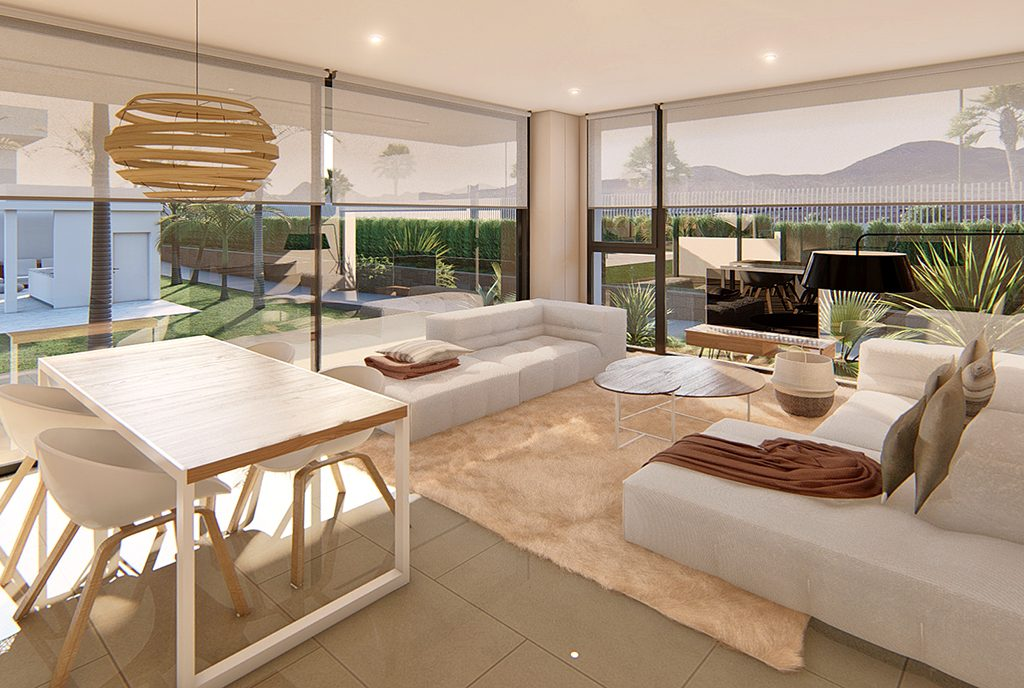 zaprojektowane w nowoczesnym stylu wnętrze luksusowego apartamentu na sprzedaż Hiszpania (Mar de Cristal)