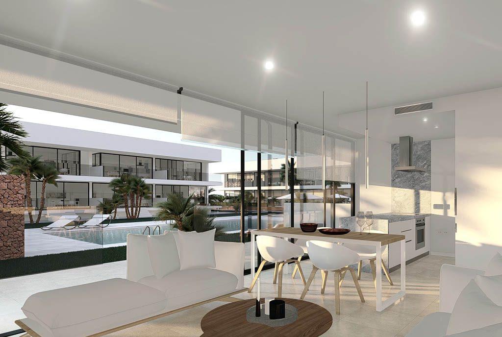 nowoczesny salon w ekskluzywnej willi do sprzedaży Hiszpania (Mar de Cristal)
