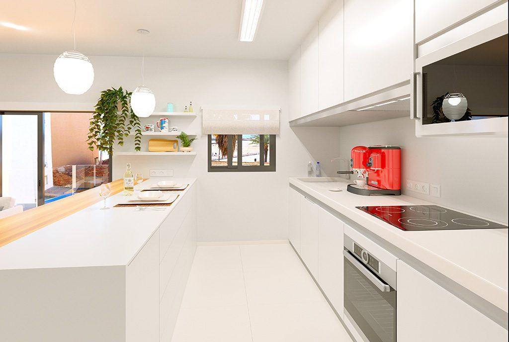 nowocześnie zabudowana kuchnia w ekskluzywnym apartamencie na sprzedaż Hiszpania (Torreviej)