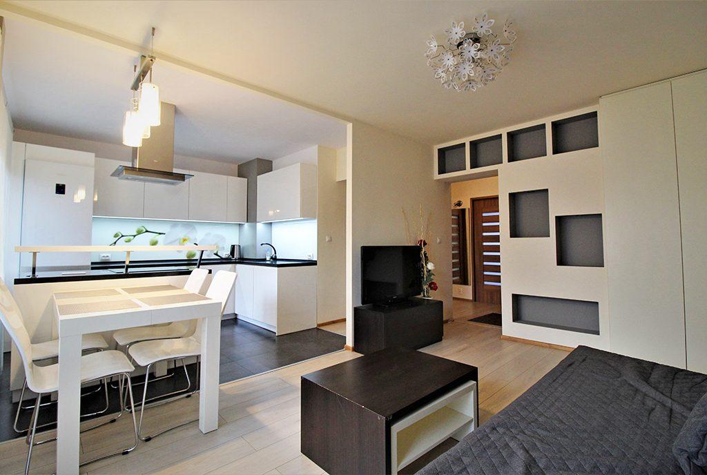 zaprojektowane w nowoczesnym designie wnętrze ekskluzywnego apartamentu do wynajęcia Kraków