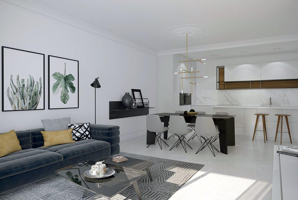 widok z salonu na aneks kuchenny w ekskluzywnym apartamencie do sprzedaży Hiszpania (Orihuel)