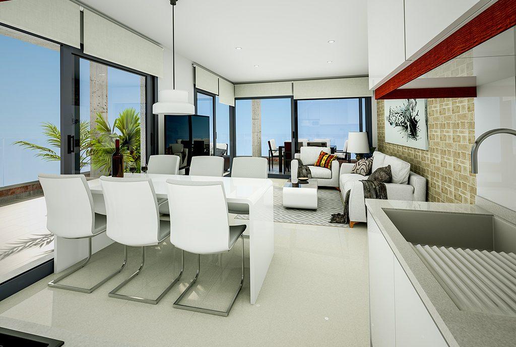 na pierwszym planie jadalnia, w oddali salon w ekskluzywnym apartamencie do sprzedaży Hiszpania (Torreviej)