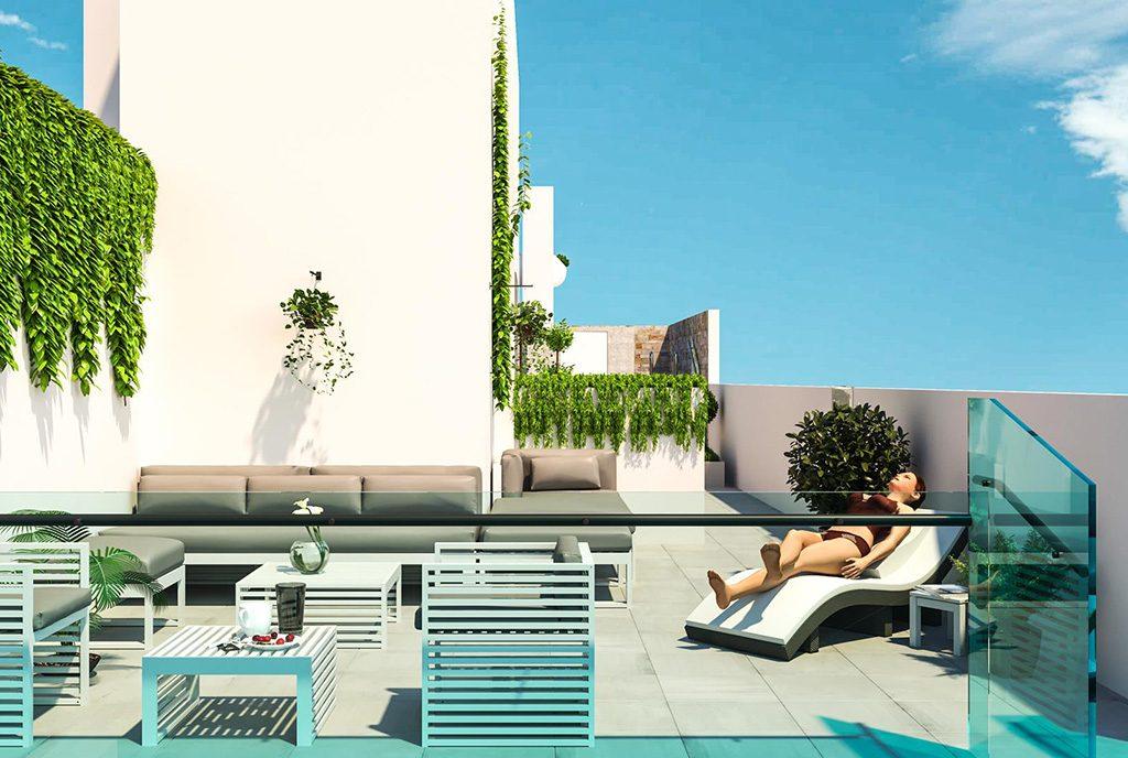 komfortowy taras przy ekskluzywnym apartamencie do sprzedaży Hiszpania (Torreviej)