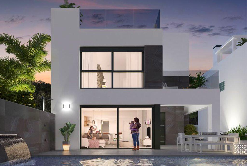 widok od strony basenu na luksusową willę do sprzedaży Hiszpania (Orihuela Cost)