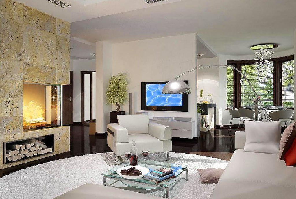 nowoczesny design salonu w ekskluzywnej willi do sprzedaży Suwałki (okolice)