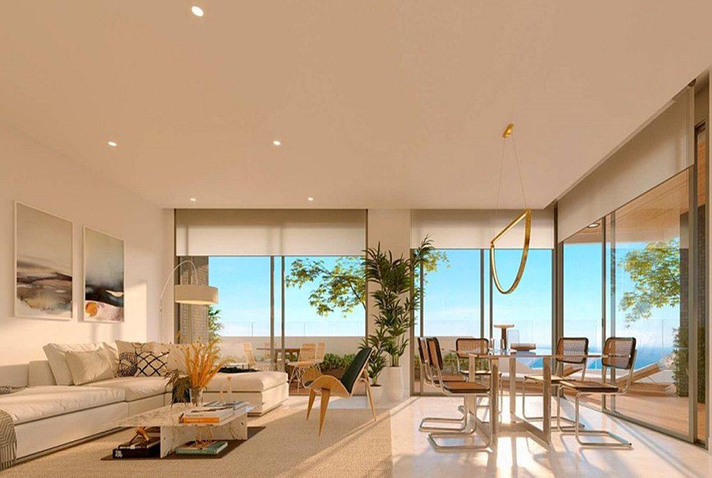zaprojektowane w nowoczesnym designie wnętrze luksusowego apartamentu na sprzedaż Hiszpania