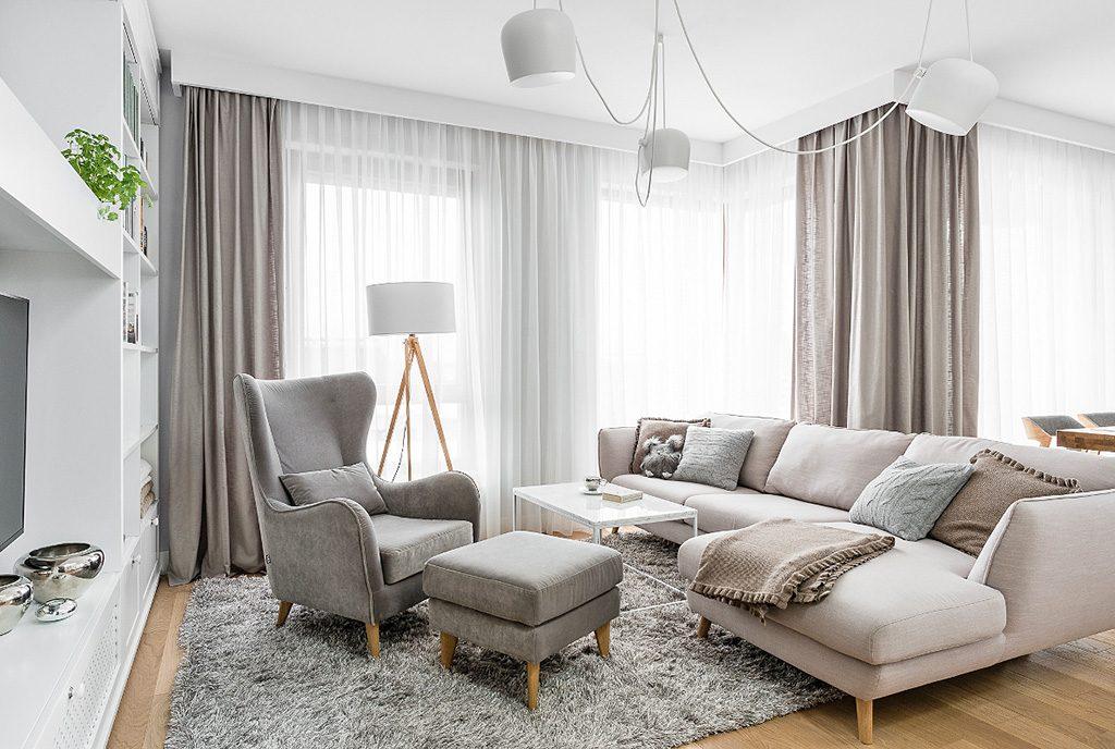 elegancki salon w luksusowym apartamencie na sprzedaż Grudziądz