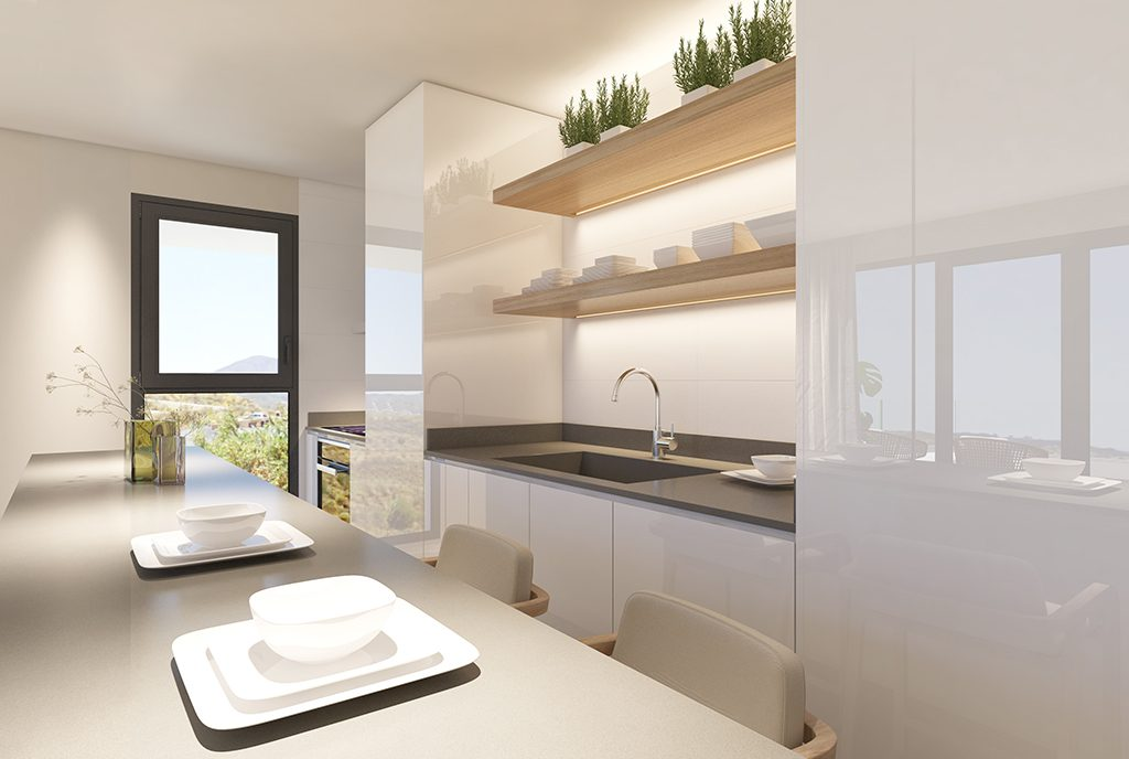 zaprojektowana praktycznie kuchnia w ekskluzywnym apartamencie na sprzedaż Hiszpania
