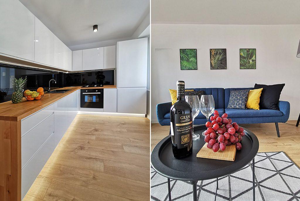 po lewej kuchnia, po prawej salon w ekskluzywnym apartamencie na sprzedaż Grudziądz