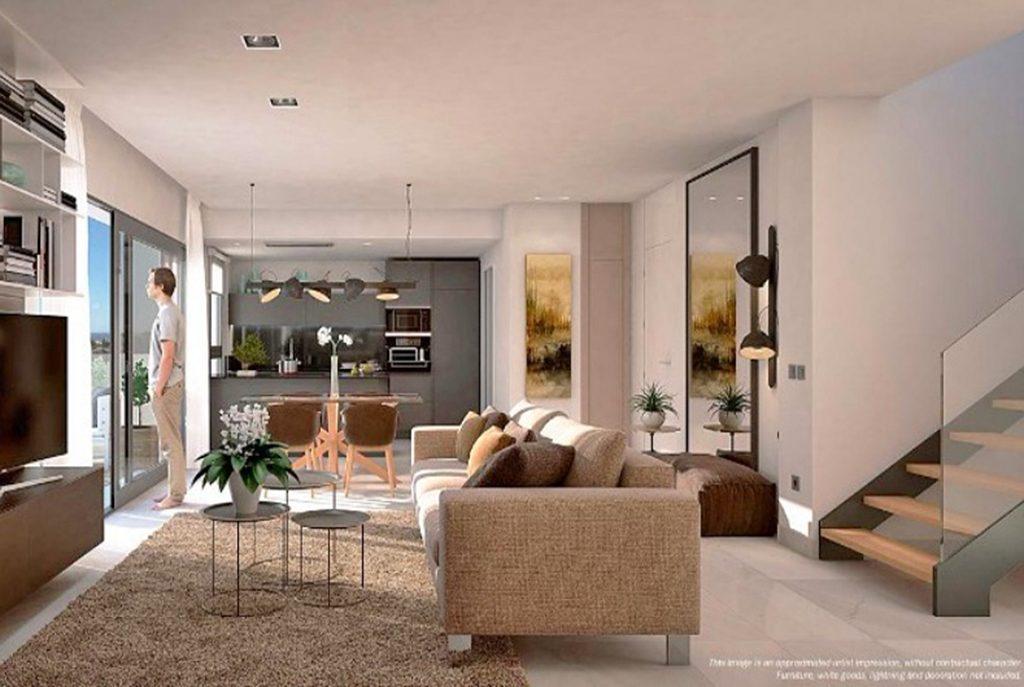zaprojektowany w nowoczesnym designie salon w luksusowym apartamencie na sprzedaż Hiszpania