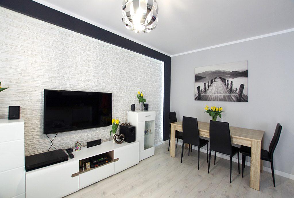 nowoczesny salon w ekskluzywnym apartamencie do wynajęcia Legnica (okolice)
