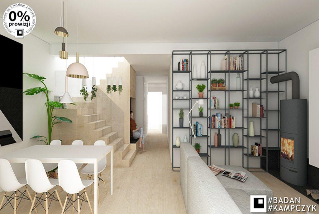 zaprojektowany w nowoczesnym stylu salon w luksusowej willi na sprzedaż Katowice (okolice)