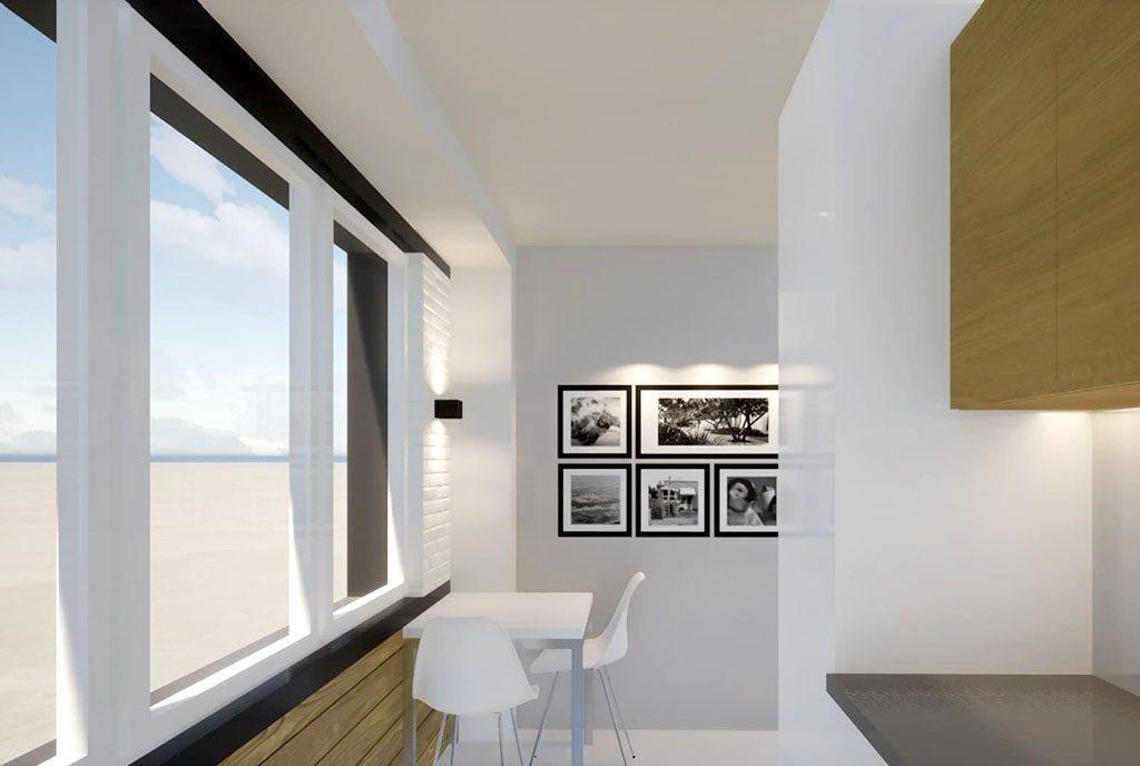 widok na kuchnię i jadalnię w luksusowym apartamencie na sprzedaż Kalisz