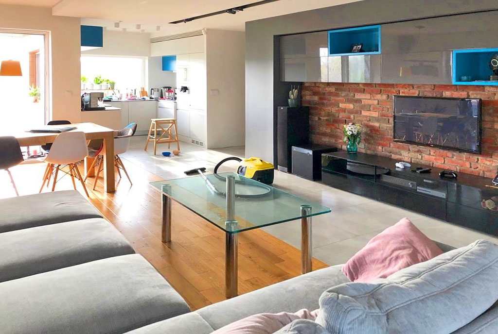 nowoczesny salon w ekskluzywnym apartamencie do sprzedaży Katowice