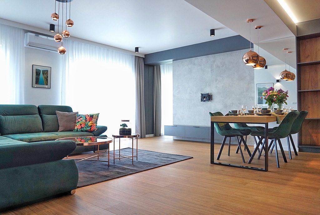 nowocześnie zaaranżowany salon w luksusowym apartamencie do wynajęcia Legnica