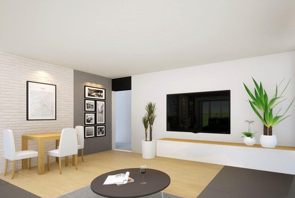 wizualizacja przedstawiająca salon w ekskluzywnym apartamencie do sprzedaży Kalisz