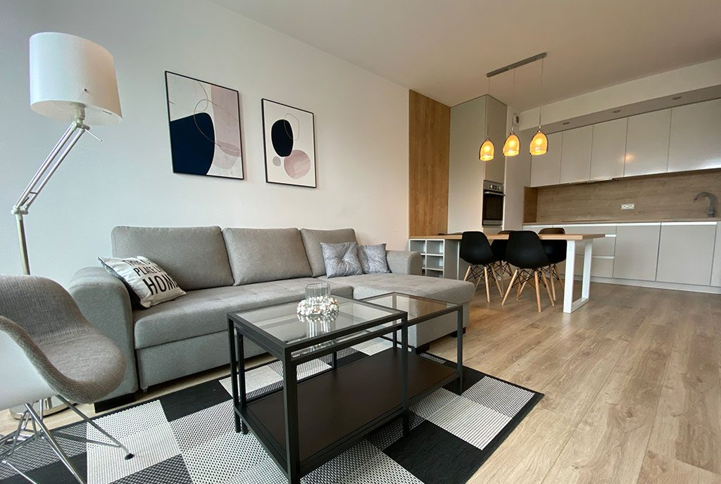 zbliżenie na salon w luksusowym apartamencie do wynajmu Szczecin