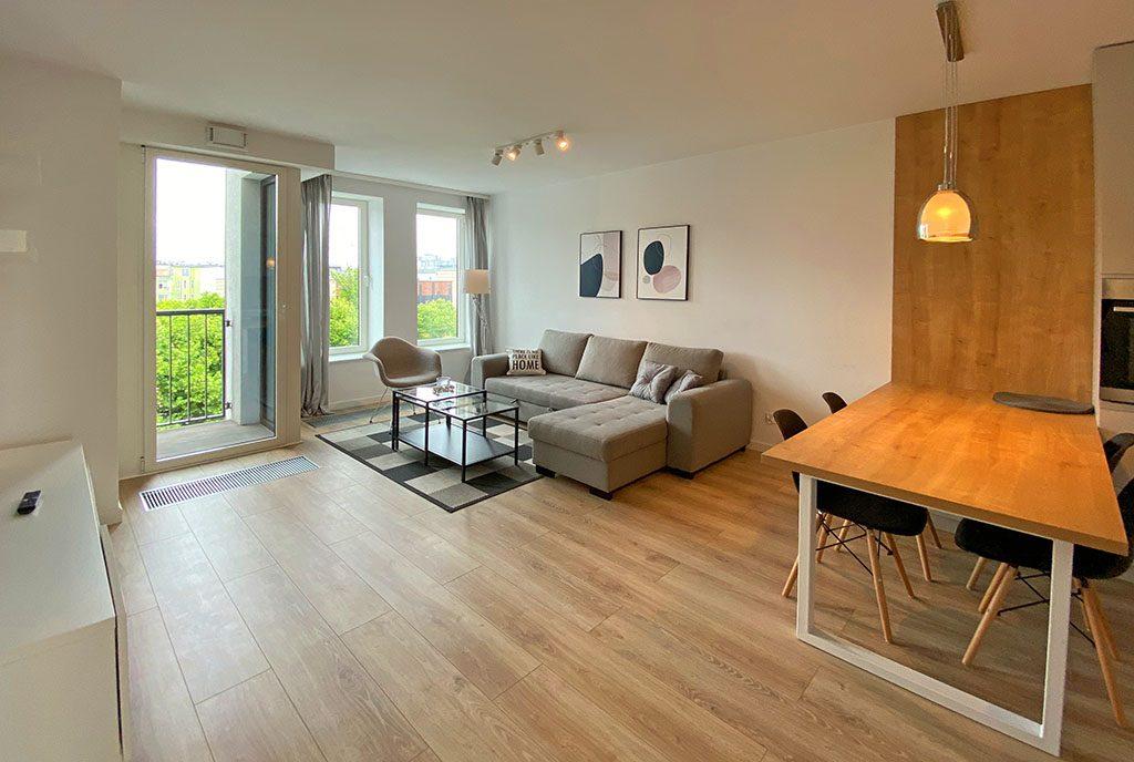 przestronne wnętrze ekskluzywnego apartamentu do wynajęcia Szczecin