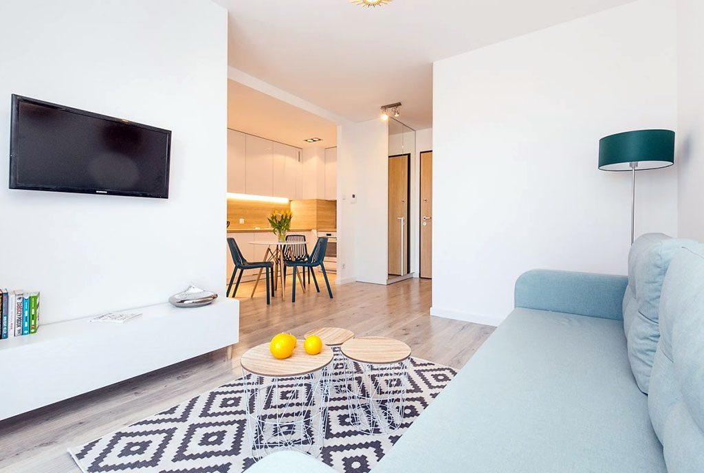 zaprojektowane w nowoczesnym stylu wnętrze luksusowego apartamentu na sprzedaż Gdańsk