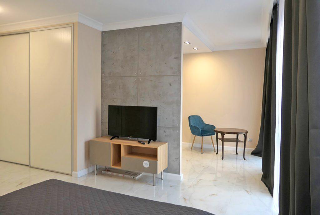 nowoczesny design salonu w luksusowym apartamencie do wynajęcia Gdańsk