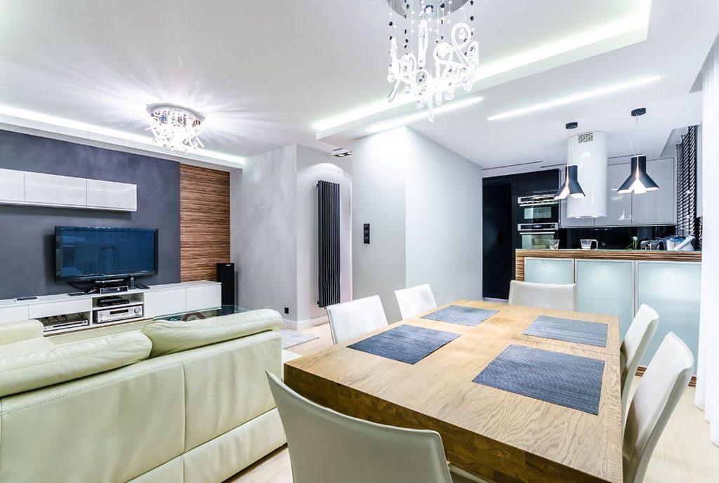 designerskie wnętrze salonu w ekskluzywnym apartamencie do sprzedaży Gdańsk