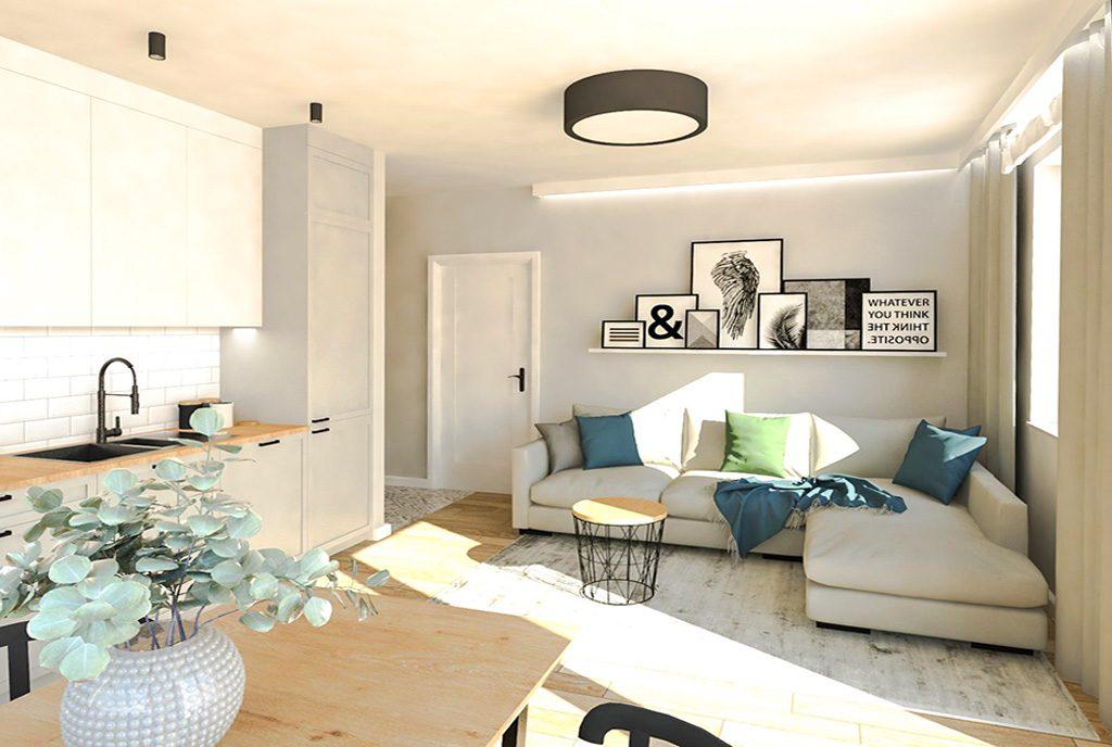 widok z innej perspektywy na salon w ekskluzywnym apartamencie na sprzedaż Ostrów Wielkopolski