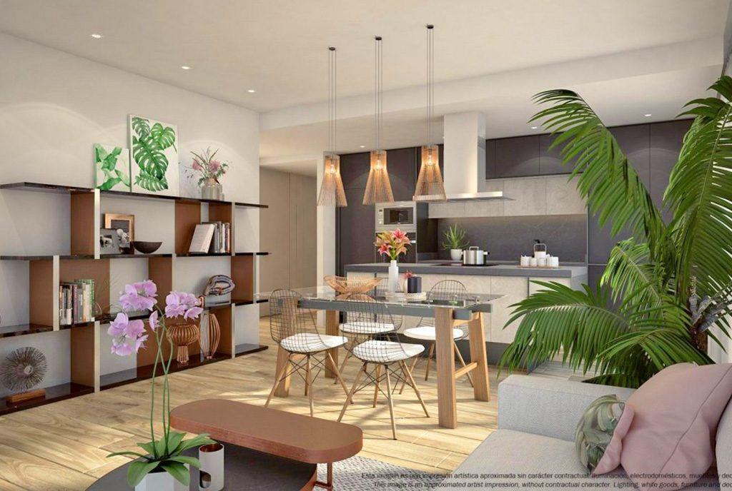nowoczesny design salonu w ekskluzywnym apartamencie do sprzedaży Hiszpania (Costa Blanca)