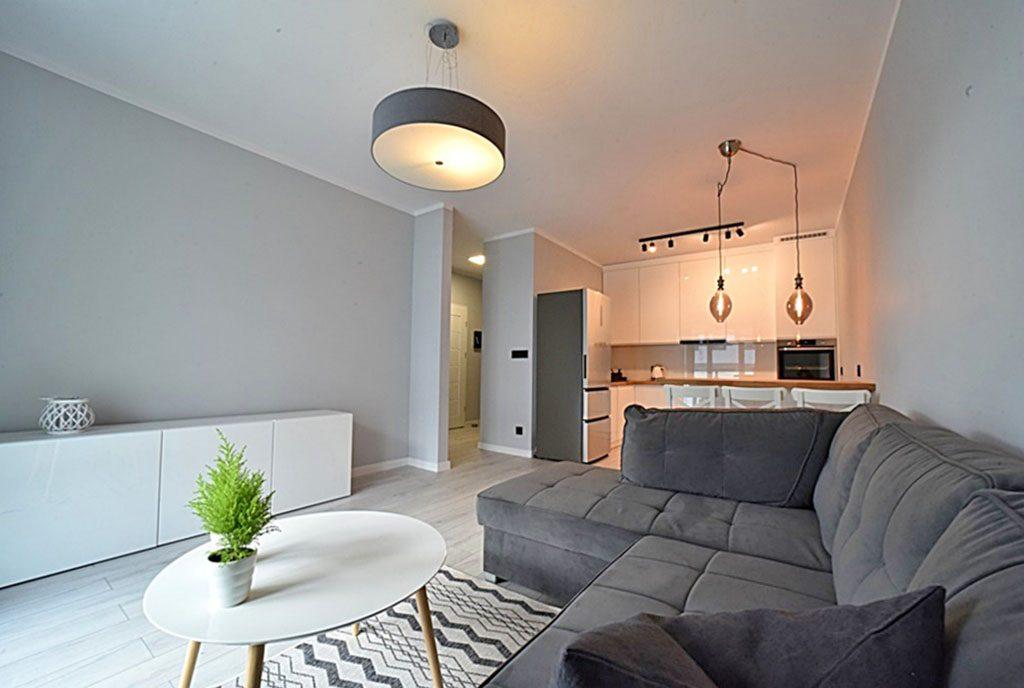 widok z salonu na aneks kuchenny w ekskluzywnym apartamencie do wynajęcia Bolesławiec
