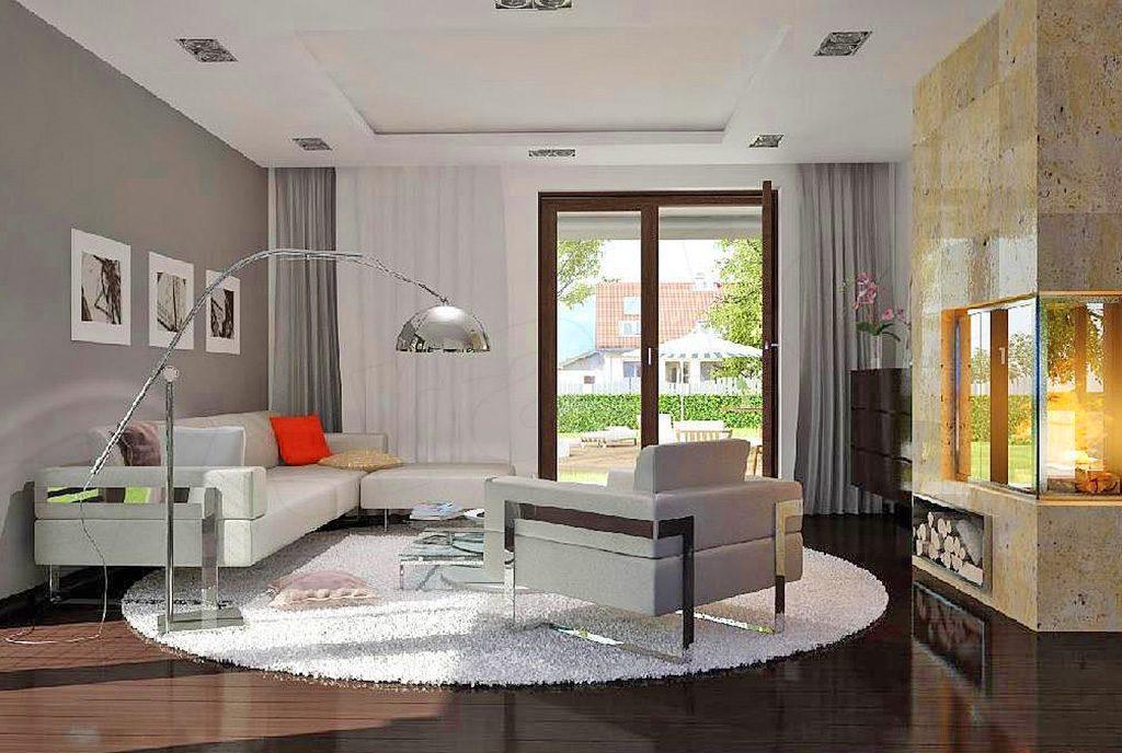 zaprojektowany zgodnie ze współczesnymi trendami salonu w luksusowej willi na sprzedaż Suwałki (okolice)