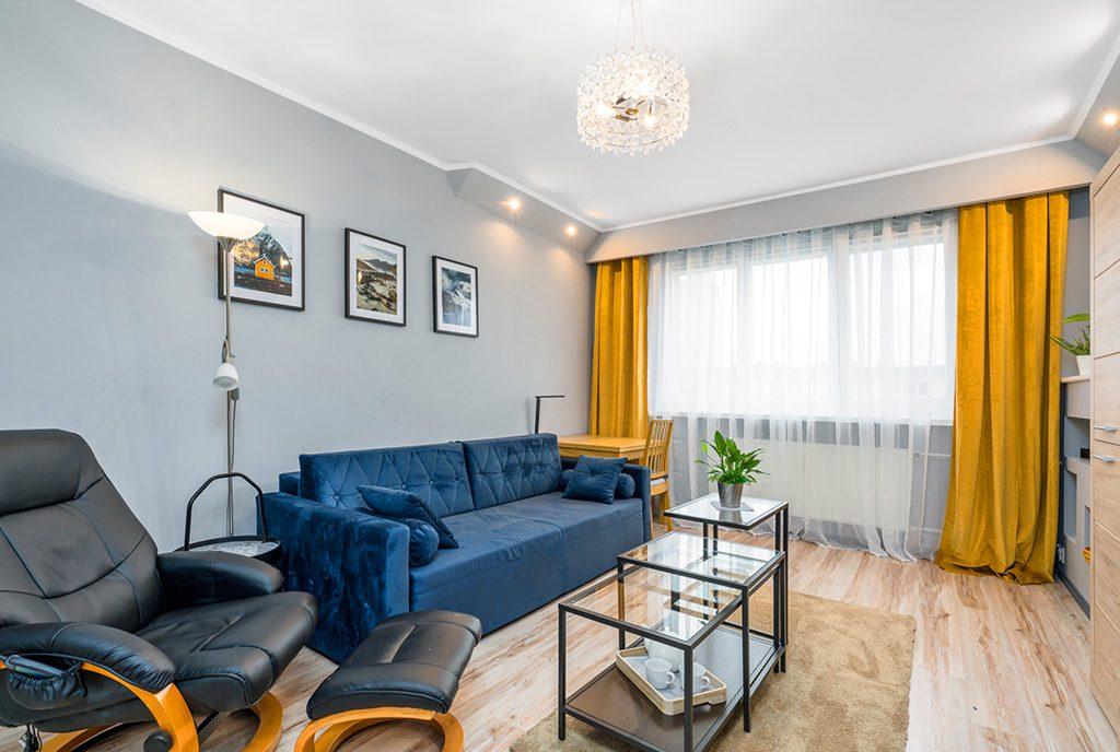 elegancki pokój dzienny w luksusowym apartamencie na sprzedaż Poznań