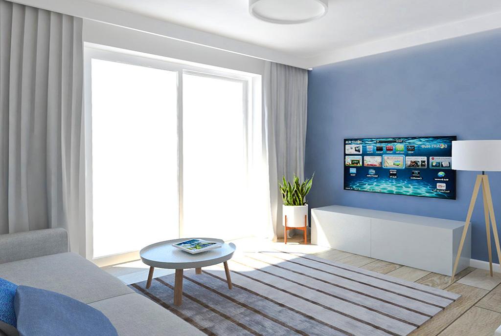 zaprojektowane w surowym designie wnętrze ekskluzywnego apartamentu na sprzedaż Ostrów Wielkopolski