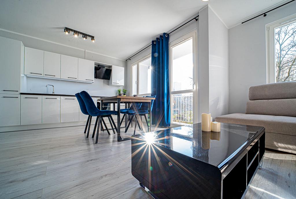 zaprojektowane zgodnie z najnowszymi trendami wnętrze ekskluzywnego apartamentu do wynajęcia Bolesławiec