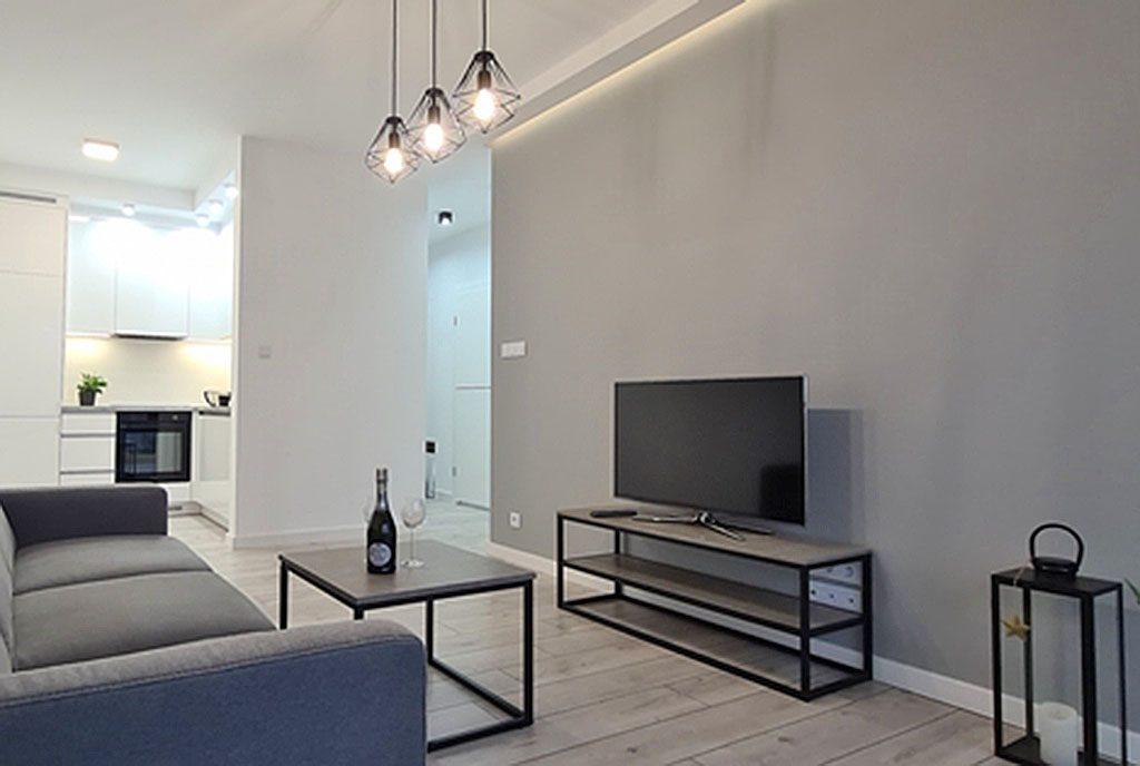 nowoczesny salon w ekskluzywnym apartamencie do wynajęcia Wieluń