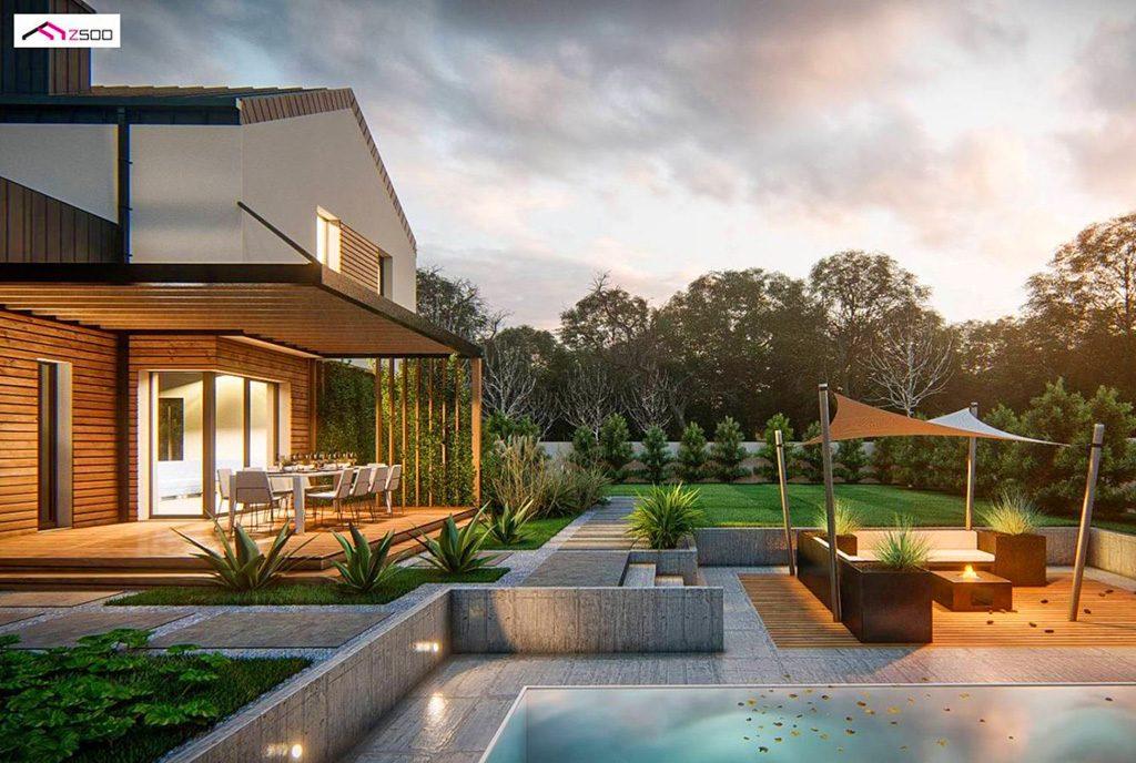 ogromny basen przy luksusowej willi na sprzedaż Kalisz