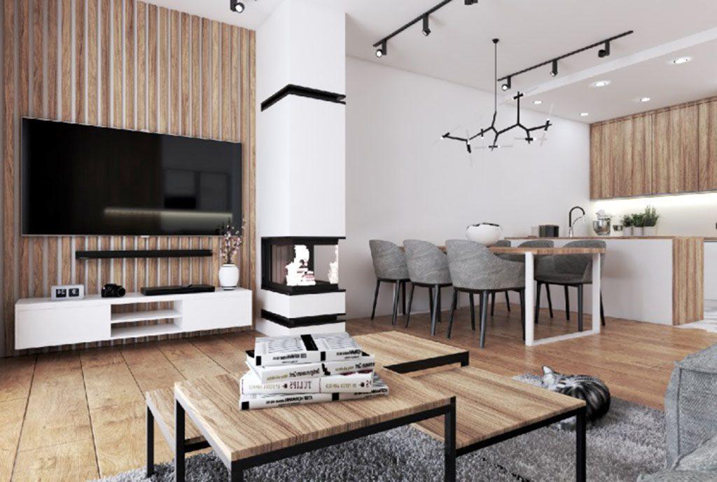 zaprojektowane w nowoczesnym designie wnętrze salonu w ekskluzywnej willi na sprzedaż Legnica (okolice)