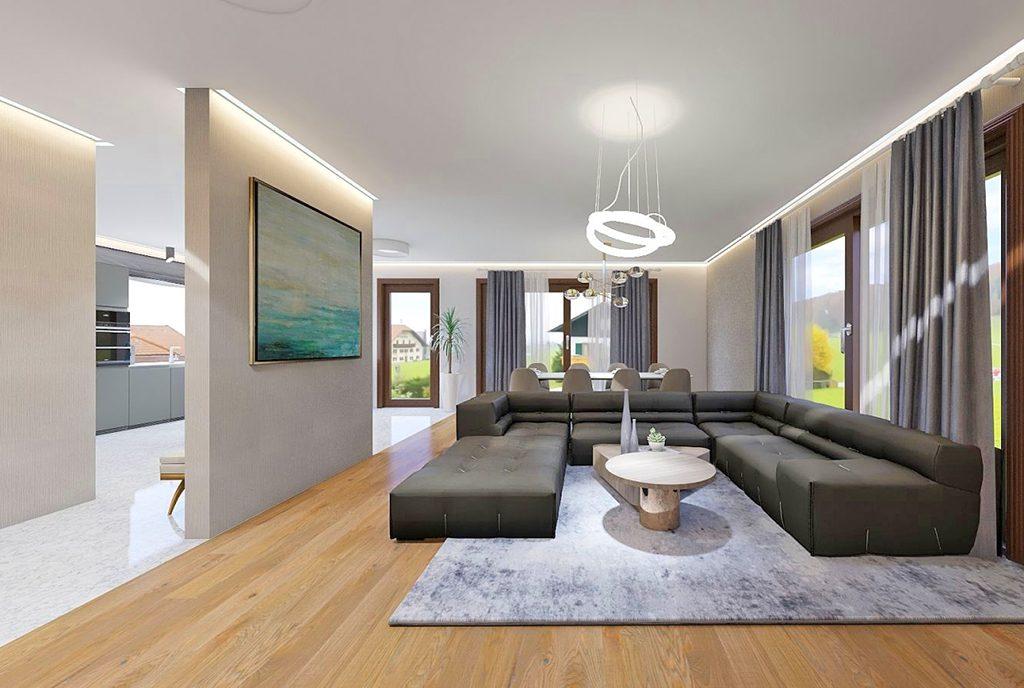 zaprojektowane w nowoczesnym stylu wnętrze luksusowej willi na sprzedaż Częstochowa (okolice)