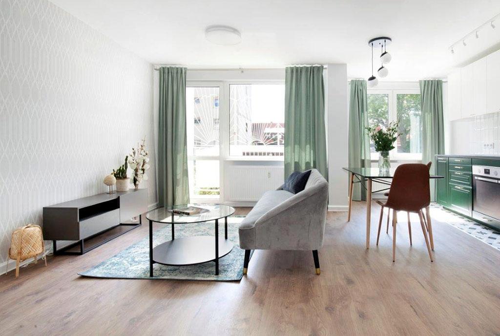 stylowy salon w ekskluzywnym apartamencie do sprzedaży Gdańsk