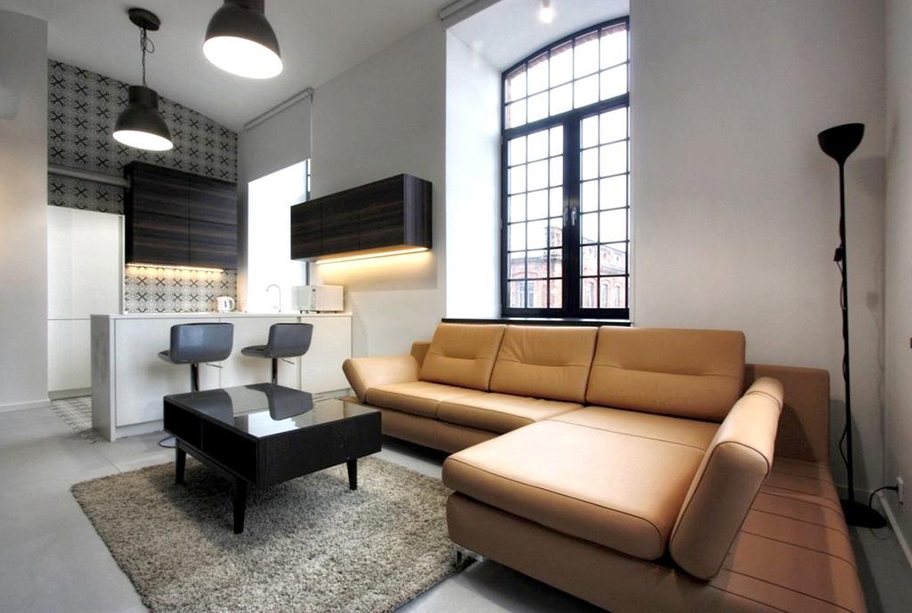 stylowe wnętrze salonu w ekskluzywnym apartamencie do wynajęcia Łódź