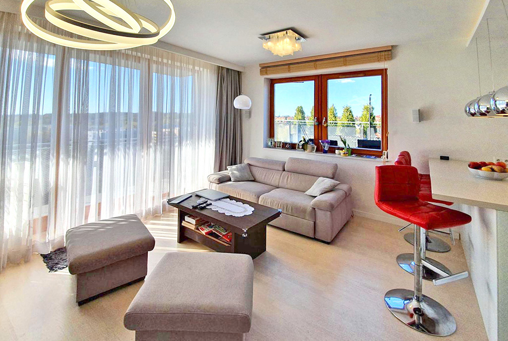 nowoczesne wnętrze salonu w ekskluzywnym apartamencie do sprzedaży Szczecin