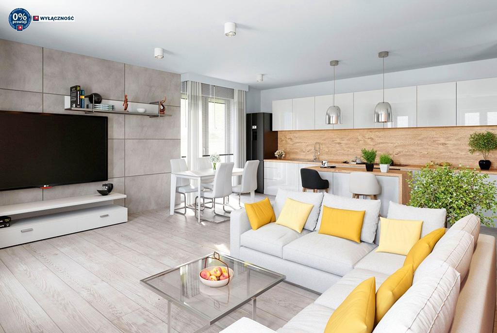 zaprojektowany z wyczuciem gustu salon w ekskluzywnym apartamencie do sprzedaży Legnica