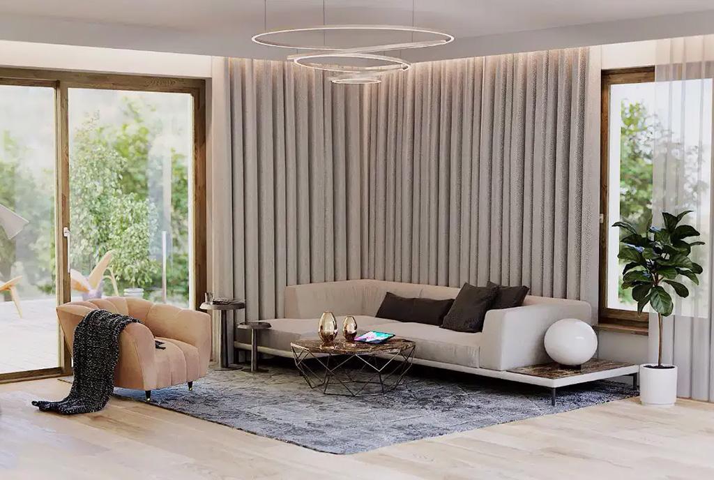 wytworny pokój dzienny w ekskluzywnym apartamencie do sprzedaży Mazury