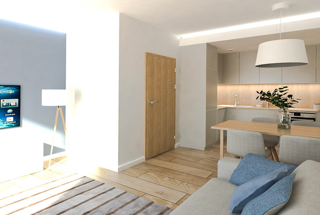 nowoczesny projekt aranżacji wnętrza luksusowego apartamentu na sprzedaż Ostrów Wielkopolski
