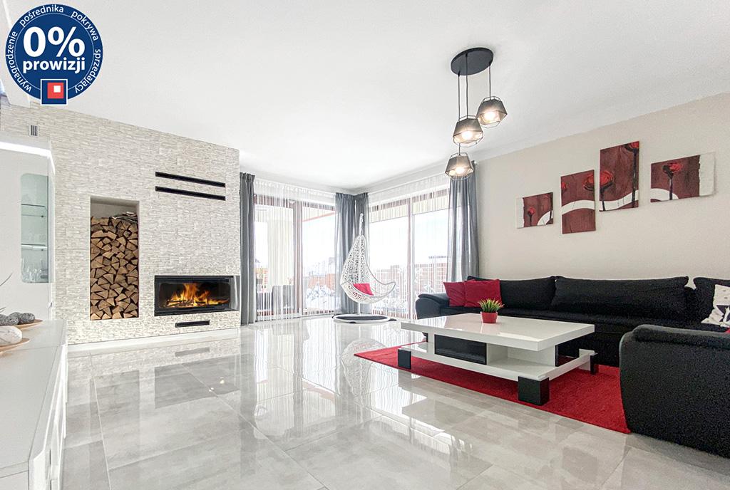 widok na salon z kominkiem w luksusowej willi na sprzedaż Katowice (okolice)